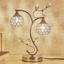 Faceted Crystal Orb Table Light Traditional 2 Heads Bedroom Night Lamp in Gold with Branch Design