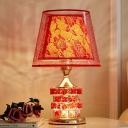 Red/Gold Magic Cube Shape Table Lamp Traditional Cut Crystal 1 Head Bedroom Night Light with Barrel Fabric Shade