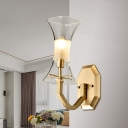 1-Light Corner Wall Sconce Postmodern Brass Wall Mount Light Fixture with Flared Clear Glass Shade