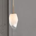 White Glass Gemstone Shape Pendant Minimalist Single Bulb Ceiling Suspension Lamp in Brass