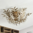 Metal Black/Gold Ceiling Lamp Branch 10 Lights Traditional Flush Mount with Crystal Draping