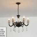 Black 6/8-Light Hanging Chandelier Vintage Crystal Candelabrum Pendant Light Fixture for Dining Room