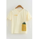 Beige Chinese Letter Pineapple Embroidered Bow Tie Short Sleeve V-Neck Relaxed Popular T-Shirt for Women