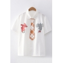 Cute Girls Bear Elephant Printed Short Sleeve Turn-down Collar Button up Relaxed White Shirt with Plaid Tie