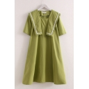 Trendy Womens Linen and Cotton Short Sleeve Lace Trimmed Sailor Collar Midi Swing Dress