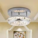 Chrome Round Flush Mount Contemporary Crystal LED Corridor Flushmount in Warm/White Light