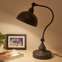 Industrial-Style Domed Table Light 1 Head Iron Desk Lamp in Black with Gooseneck Arm