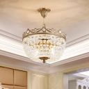 Basket Hallway Semi Flush Mount Light Modern Crystal Prism 4-Bulb Brass Flushmount Lighting
