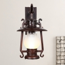 Black Lantern Wall Sconce Industrial Frosted Glass Single Outdoor Wall Mounted Lamp