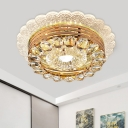 Modern Ruffle Edge Ceiling Lamp Clear Crystal LED Flush Mount Recessed Lighting in Gold
