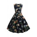 Girls Vintage All over Flower Printed Bow Tie Waist Midi Pleated Flared Dress in Black
