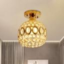 Crystal Embedded Ball Semi Flush Minimalism 1 Head Hallway Ceiling Flush Mount in Gold