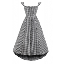 Gray Checkered Printed Off the Shoulder Bow Tie Front Pintuck Back Button down High Low Hem Pretty Midi A-Line Dress for Girls