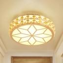 White/Gold LED Flush Mount Lighting Contemporary Beveled Crystal Prism Flower/Round Ceiling Light