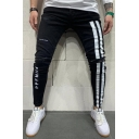 Streetwear Boys Letter Print Striped Ripped Mid Rise Ankle-length Pencil Jeans