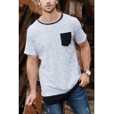 Guys Leisure Geometric Print Contrasted Patched Pocket Short Sleeve Round Neck Curved Hem Regular Fit T-Shirt in White