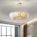 Doughnut Feather Chandelier Light Fixture Modern Fabric 3/6 Lights Bedroom Pendant Lamp in White/Grey/Pink