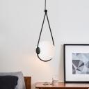 Opal Glass Orb Pendant Lighting Minimalist 1-Light White/Black Swag Ceiling Hang Fixture with Teardrop Frame