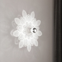 Iron Leaf Shaped Wall Mount Lighting Nordic 1 Light Wall Sconce Lamp in White for Bedroom