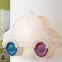 LED Corner Wall Light Sconce Cartoon White Wall Mounted Lamp with Car Plastic Shade
