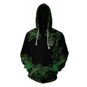 Classic Movie Cosplay Long Sleeve Drawstring Zipper Front Letter Cartoon 3D Graphic Relaxed Hoodie in Green