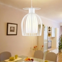 Modern Cup Cage Pendant Iron 1 Light Restaurant Ceiling Hang Fixture in White with Opal Glass Shade