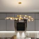 Grape Shape Chandelier Post-Modern Metallic 20-Head Dining Room Hanging Ceiling Light in Gold