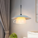 White Coffee Cup Pendant Lighting Nordic 1-Head Ceramics Hanging Lamp Kit with Light Green Plate Top