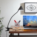 Metal Triangle USB Reading Light Modernist LED Flexible Desk Lamp in Black with Fixing Clip