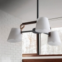 3/6-Head Dining Room Pendant Lighting Modernist Black Radial Ceiling Chandelier with Barrel Frosted White Glass Shade