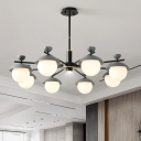 Black and Grey Radial Hanging Chandelier Modernist 8 Lights Metal Ceiling Pendant Lamp with Ball Frosted Glass Shade