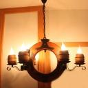 4/6 Lights Chandelier Light Industrial Candelabra Metal Pendant Lighting Fixture in Brown with Wood Ring Deco