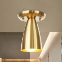 ube Metallic Flush Mount Lighting Industrial 1 Light Hallway Flush Ceiling Lamp Fixture in Gold