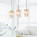 Modernist Cylinder Multi Light Pendant Crystal 3-Light Dining Room Hanging Lamp Kit in Brass with Linear/Round Canopy