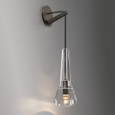 Bronze Finish Tapered Sconce Lighting Minimalist 1 Light Crystal Wall Lamp Fixture with Dangling Cord