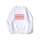 Leisure Mens Long Sleeve Round Neck Letter I LOVE ME SO MUCH Print Loose Fit Pullover Sweatshirt