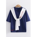 Preppy Girls Short Sleeve Sailor Collar Japanese Letter Cat Embroidered Colorblock Loose T-Shirt