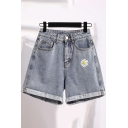 Cool Popular Girls High Waist Daisy Embroidery Roll Cuffs Relaxed Fit Denim Shorts