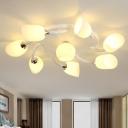 Contemporary Tulip Semi Flush Light Milk White Glass 6/8 Heads Living Room Spiral Flush Mounted Lamp