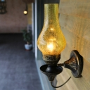 1 Head Wall Mount Lighting Loft Outdoor Metal Wall Light Fixture with Vase Yellow/Clear Crackle Glass Shade