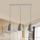 Cement Grey Multi Ceiling Light Bell/Cone/Drum 3 Bulbs 3