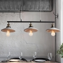 3 Bulbs Island Pendant Light Industrial Restaurant Hanging Lamp Kit with Saucer Cement Shade in Grey