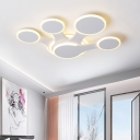 White Fan Designed LED Ceiling Mounted Light Contemporary 3/4 Heads Acrylic Flush Mount for Bedroom