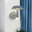 Contemporary LED Wall Lamp Fixture Grey/White Tapered Wall Sconce Light with Metallic Shade for Bedroom