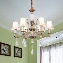 Traditional Conical Pendant Chandelier 6 Bulbs Faceted Crystal Suspension Light in Gold