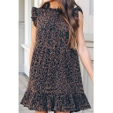 Fancy Trendy Ladies Sleeveless Crew Neck Leopard Printed Ruffled Stringy Selvedge Short Swing Dress in Dark Khaki