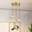 Modernist Wrist Strap Pendant Light 3 Heads Prismatic Crystal Multi Hanging Light Fixture in Brass