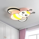 Bedroom LED Flush Light Kids Style Pink/Yellow Flushmount Ceiling Fixture with Bee Acrylic Shade