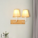 2 Heads Wall Mount Lamp Lodge Deep Cone Fabric Sconce Light in Flaxen with Wood Backplate