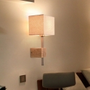 Cuboid Bedside Wall Light Fixture Simple Printed Fabric 1 Bulb Wood Sconce Lighting with Nickel Fixture Stem